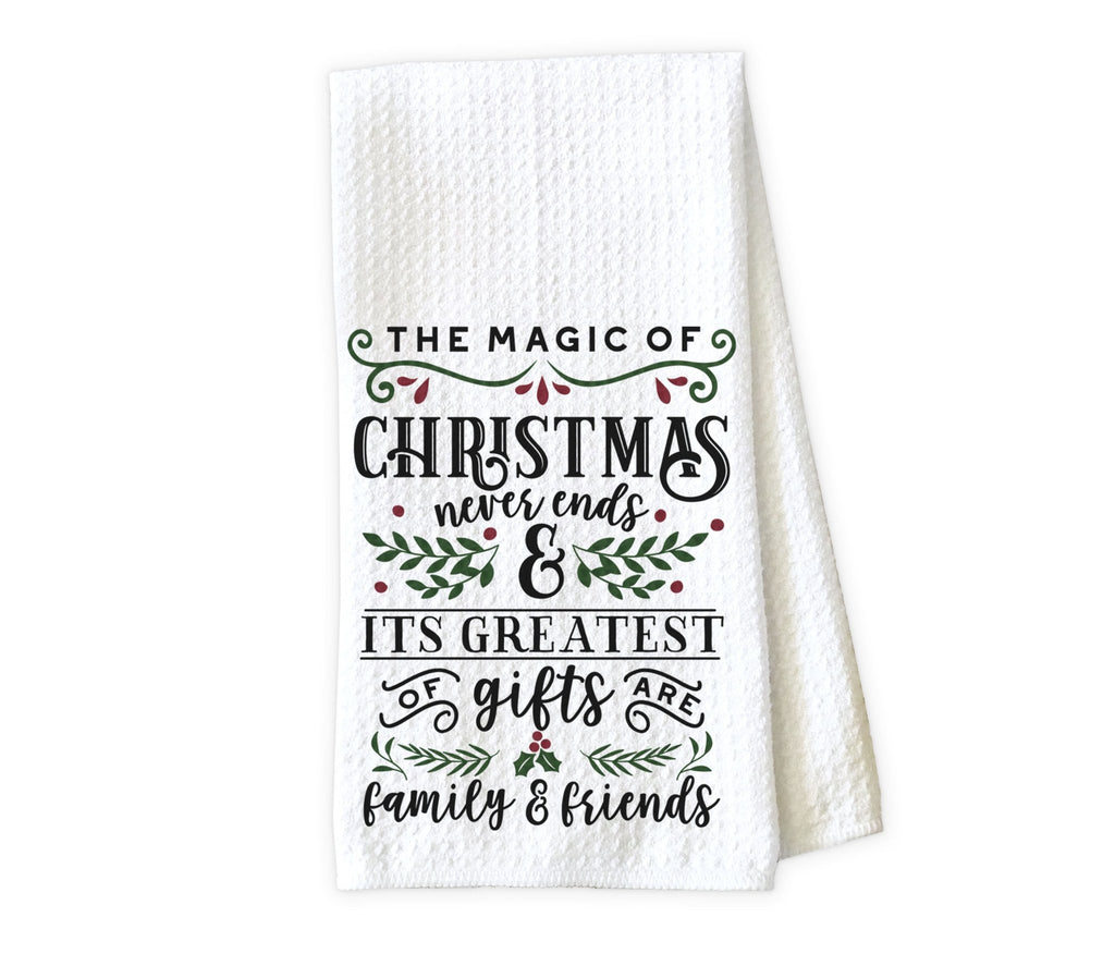 The Magic of Christmas Kitchen Towel - Waffle Weave Towel - Microfiber Towel - Kitchen Decor - House Warming Gift - Sew Lucky Embroidery