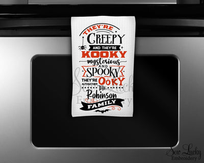 They're Creepy and they're Kooky Personalized Waffle Weave Microfiber Kitchen Towel