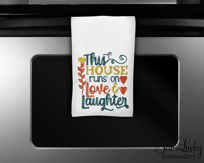 This House runs on Love and Laughter Waffle Weave Microfiber Kitchen Towel
