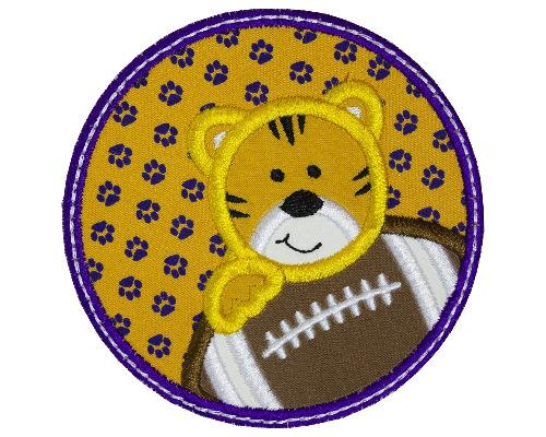 Tiger Boy Football Circle Patch - Sew Lucky Embroidery