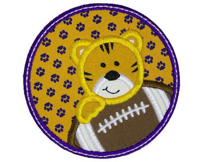 Tiger Boy Football Circle Patch