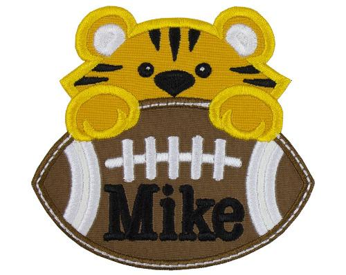 Tiger Football Boy Personalized Patch - Sew Lucky Embroidery