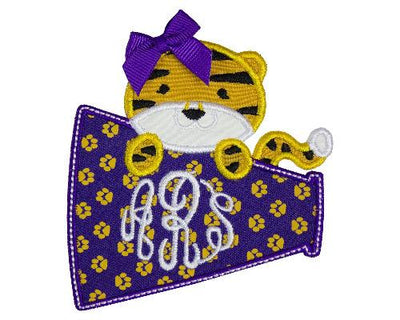Tiger Football Girl Megaphone Monogram Personalized Patch
