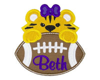 Tiger Football Girl Personalized Patch - Sew Lucky Embroidery