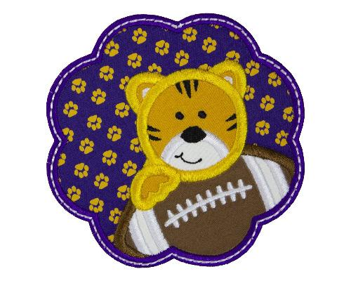 Tiger Football Scallop Patch - Sew Lucky Embroidery