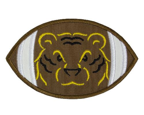 Tiger Head Football Patch - Sew Lucky Embroidery
