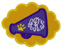 Tiger Paw Football Megaphone Monogram Personalized Patch - Sew Lucky Embroidery