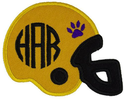 Tiger Paw Print Football Helmet Monogram Personalized Patch