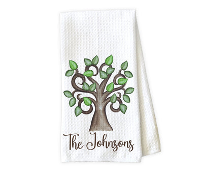Tree Personalized Waffle Weave Microfiber Kitchen Towel