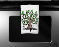 Tree Personalized Kitchen Towel - Waffle Weave Towel - Microfiber Towel - Kitchen Decor - House Warming Gift - Sew Lucky Embroidery