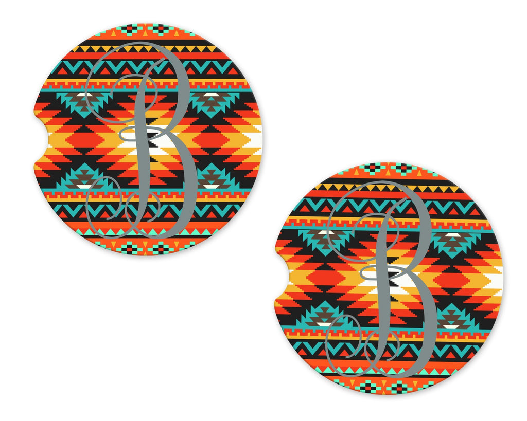 Tribal Personalized Sandstone Car Coasters - Sew Lucky Embroidery