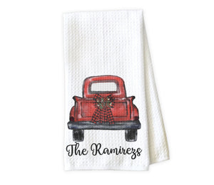 Truck with Christmas Bow Personalized Kitchen Towel - Waffle Weave Towel - Microfiber Towel - Kitchen Decor - House Warming Gift - Sew Lucky Embroidery
