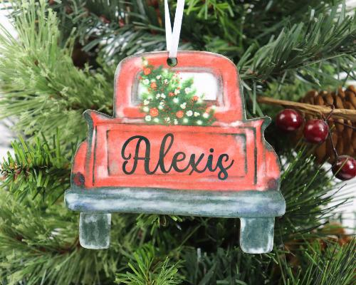 Truck with Tree Christmas Ornament Personalized - Sew Lucky Embroidery