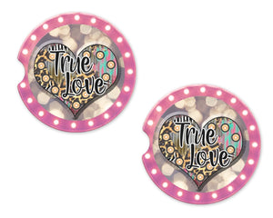 True Love Sandstone Car Coasters - Sew Lucky Embroidery