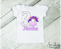 Unicorn Head Girls Personalized Birthday Shirt - Sew Lucky Embroidery