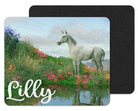 Unicorn in Flowers Custom Personalized Mouse Pad - Sew Lucky Embroidery
