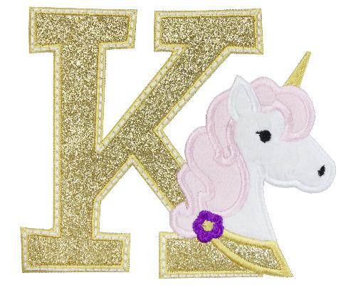 Unicorn Letter Patch - Sew Lucky Embroidery