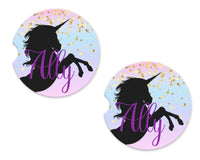 Unicorn Personalized Sandstone Car Coasters - Sew Lucky Embroidery