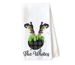 Upside Down Witch in Caldron Personalized Kitchen Towel - Waffle Weave Towel - Microfiber Towel - Kitchen Decor - House Warming Gift - Sew Lucky Embroidery