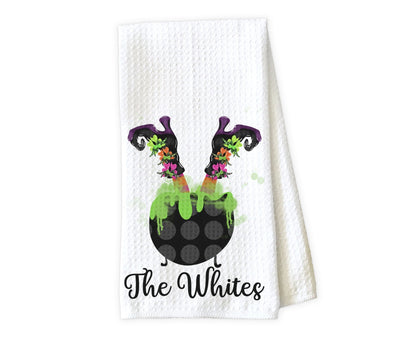 Upside Down Witch in Caldron Personalized Waffle Weave Microfiber Kitchen Towel