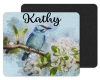 Watercolor Bird in Tree Custom Personalized Mouse Pad - Sew Lucky Embroidery