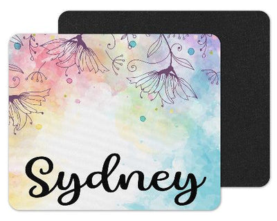 Watercolor Flowers Custom Personalized Mouse Pad