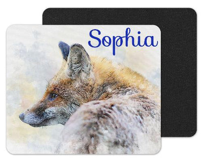 Watercolor Fox Custom Personalized Mouse Pad