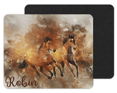 Watercolor Horses Custom Personalized Mouse Pad