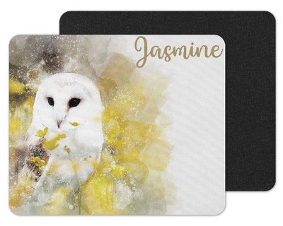 Watercolor Owl Custom Personalized Mouse Pad