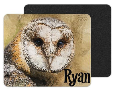 Watercolor Owl Face Custom Personalized Mouse Pad