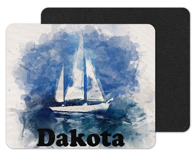 Watercolor Sailboat Custom Personalized Mouse Pad