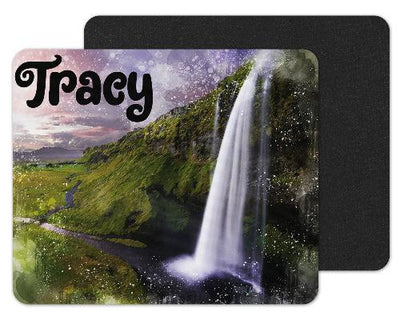 Watercolor Waterfall Custom Personalized Mouse Pad