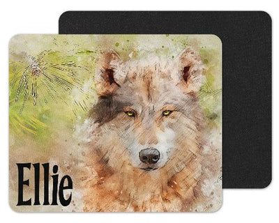 Watercolor Wolf Custom Personalized Mouse Pad