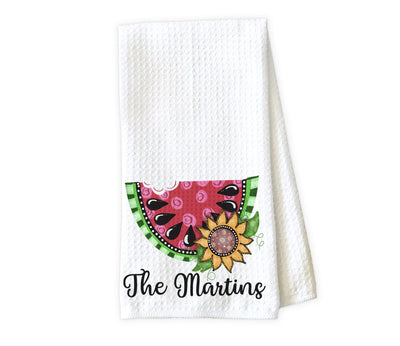 Watermelon and Sunflower Personalized Waffle Weave Microfiber Kitchen Towel