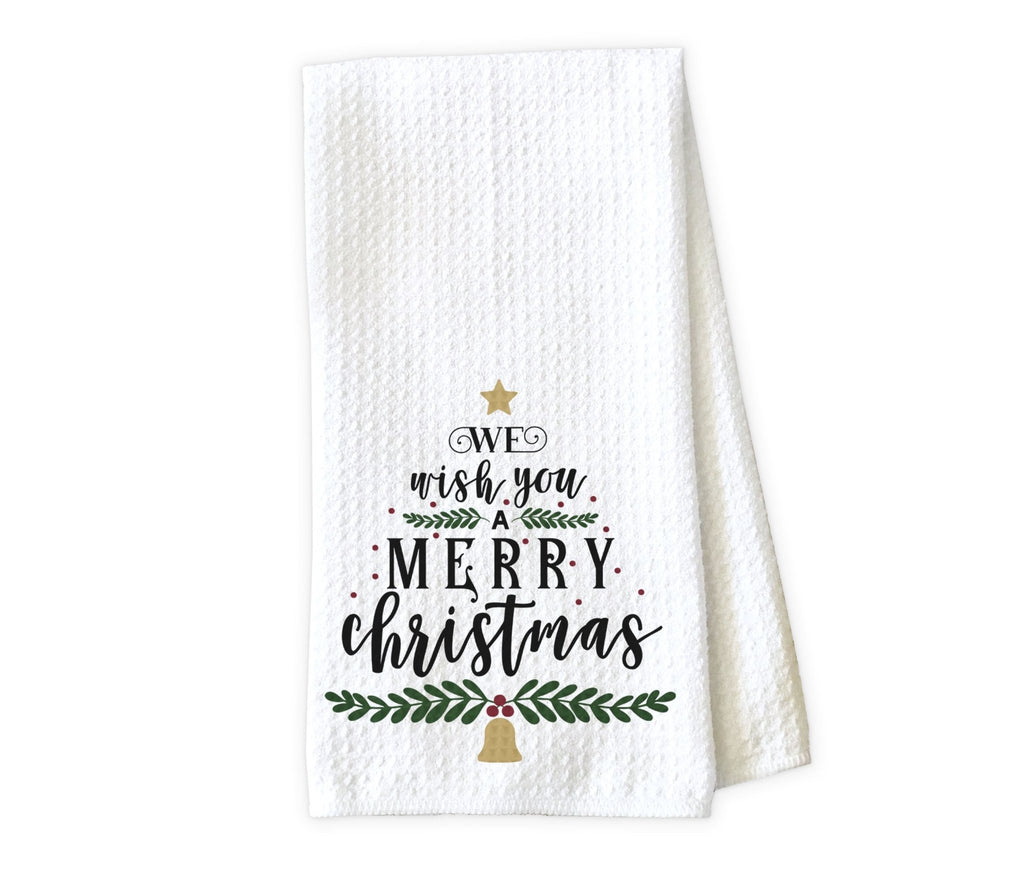 We Wish You a Merry Christmas Kitchen Towel - Waffle Weave Towel - Microfiber Towel - Kitchen Decor - House Warming Gift - Sew Lucky Embroidery