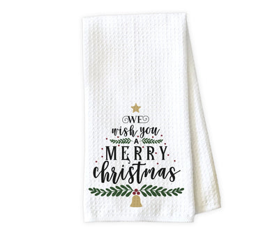 We Wish You a Merry Christmas Waffle Weave Microfiber Kitchen Towel