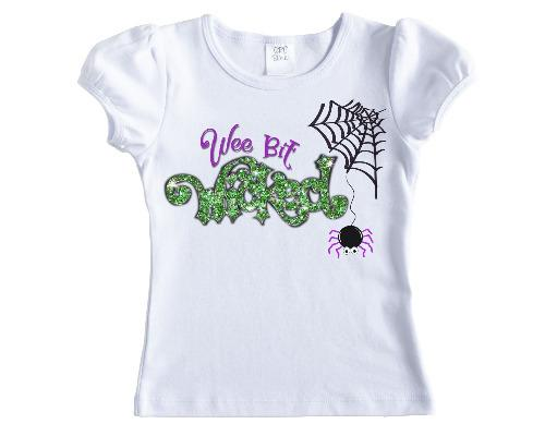 Wee Bit Wicked Halloween Personalized Girls Shirt - Sew Lucky Embroidery