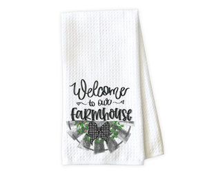 Welcome to our Farmhouse Personalized Kitchen Towel - Waffle Weave Towel - Microfiber Towel - Kitchen Decor - House Warming Gift - Sew Lucky Embroidery