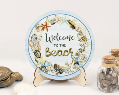 Seashells Welcome to the Beach Tier Tray Sign and Stand
