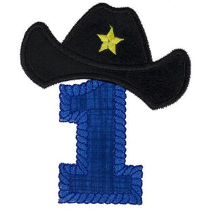 Western Number or Letter in Blue with Black Hat Patch - Sew Lucky Embroidery