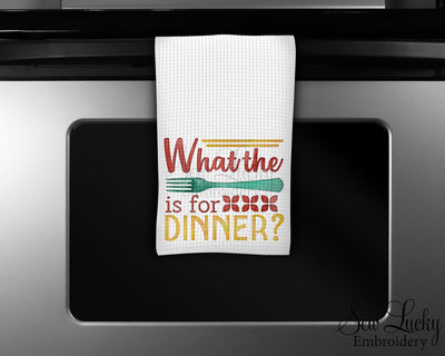 What the Fork is for Dinner Waffle Weave Microfiber Kitchen Towel