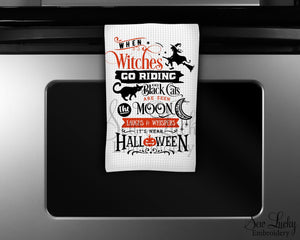 When Witches Go Riding Kitchen Towel - Waffle Weave Towel - Microfiber Towel - Kitchen Decor - House Warming Gift - Sew Lucky Embroidery