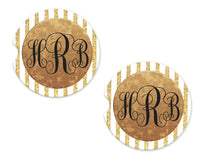 White and Gold Stripes Personalized Sandstone Car Coasters - Sew Lucky Embroidery