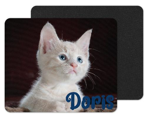 White Kitten Custom Personalized Mouse Pad - Sew Lucky Embroidery