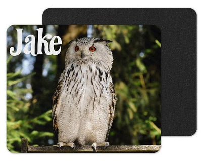 White Owl Custom Personalized Mouse Pad