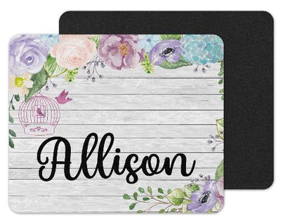 White Wood and Flowers Custom Personalized Mouse Pad