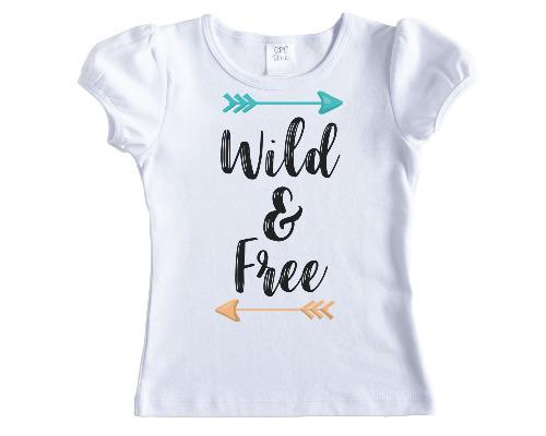 Wild and Free Girls Shirt - Sew Lucky Embroidery