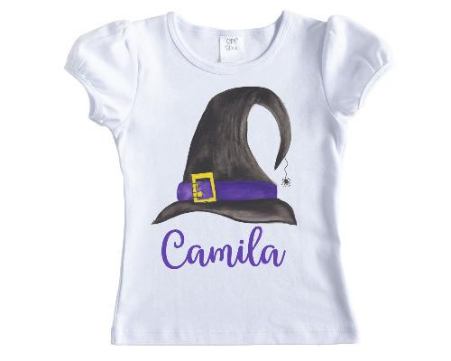 Witches Hat Halloween Personalized Girls Shirt - Sew Lucky Embroidery