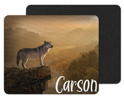 Wolf on Cliff Custom Personalized Mouse Pad