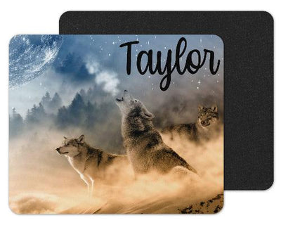 Wolves Howling at the Moon Custom Personalized Mouse Pad